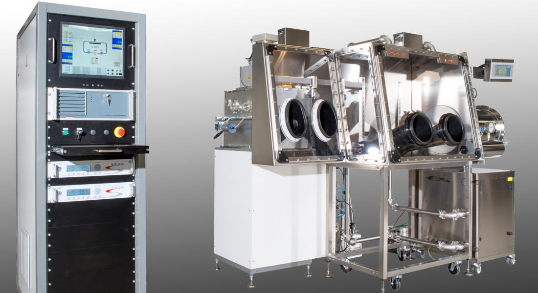 Boîte à gants pour l'électronique organique avec évaporateur