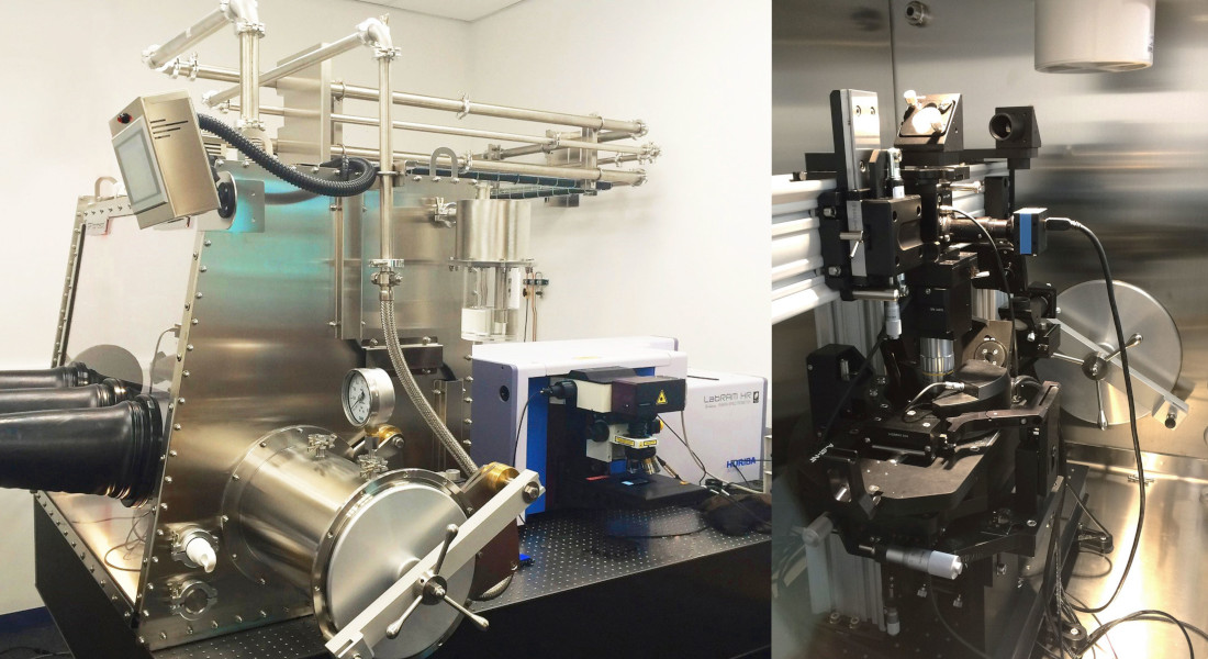 Boîte à gants pour la fabrication et matériaux raman spectro